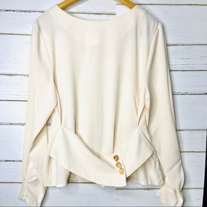 J.O.A. Blouse Cream Belted Hardware L
